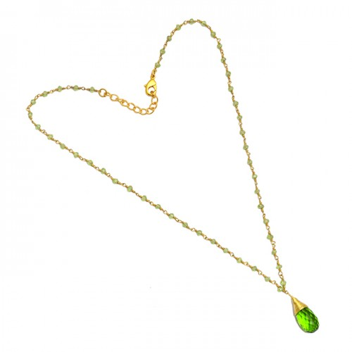 Peridot Pear Drops Roundel Beads Shape Gemstone 925 Sterling Silver Gold Plated Necklace Jewelry