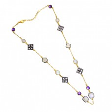 Amethyst Moonstone 925 Sterling Silver Gold Plated Necklace Jewelry