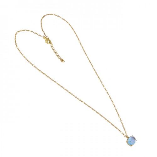 925 Sterling Silver Blue Topaz Gemstone Gold Plated Designer Necklace