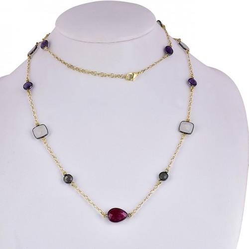 Multi Color Gemstone 925 Sterling Silver Gold Plated Designer Necklace
