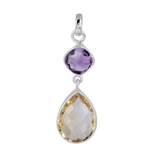 Amethyst Citrine Gemstone 925 Sterling Silver Pendant Necklace Jewelry
