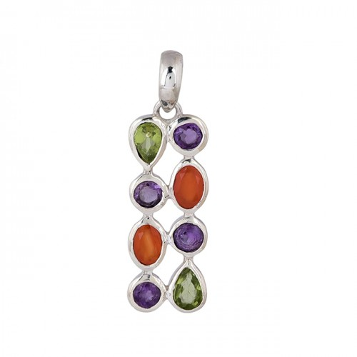 925 Sterling Silver Multi Color Gemstone Designer Pendant Necklace Jewelry