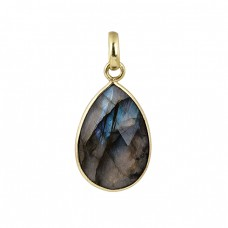 Oval Shape Labradorite Gemstone 925 Silver Gold Plated Pendant Necklace