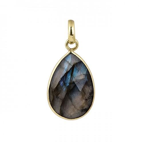 Oval Shape Labradorite Gemstone 925 Silver Gold Plated Pendant Necklace