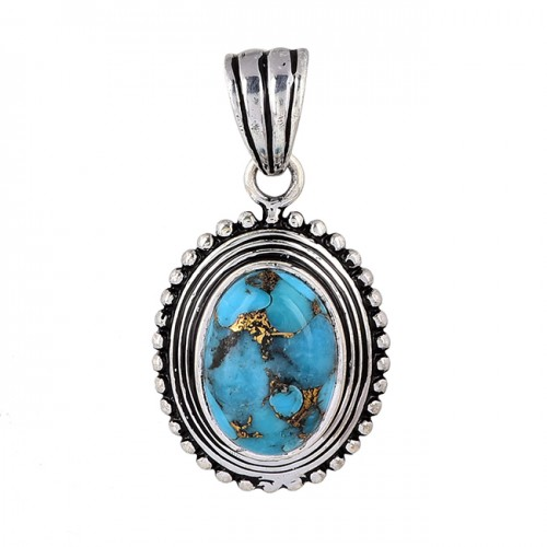 Oval Shape Blue Copper Turquoise Gemstone 925 Silver Pendant Necklace