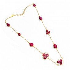 Pear Round Oval Shape Ruby Gemstone 925 Sterling Silver Gold Plated Necklace