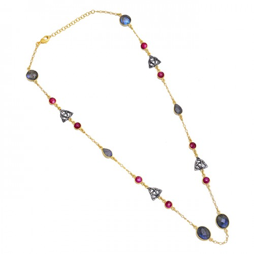 Labradorite Ruby Gemstone 925 Sterling Silver Gold Plated Necklace Jewelry