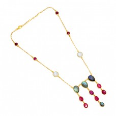 Ruby Labradorite Moonstone 925 Sterling Silver Gold Plated Necklace Jewelry
