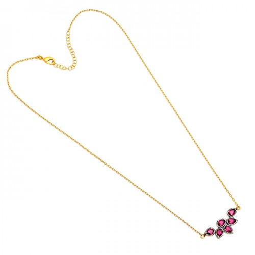 Tourmaline Cz Gemstone 925 Sterling Silver Gold Plated Necklace Jewelry