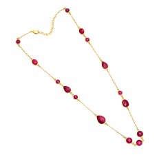 925 Sterling Silver Ruby Gemstone Gold Plated Designer Necklace Jewelry