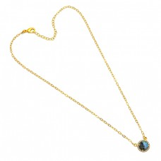 Round Shape Labradorite Gemstone 925 Sterling Silver Gold Plated Necklace