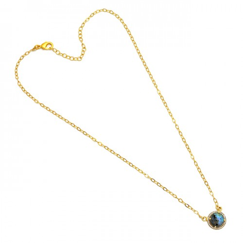 Round Shape Labradorite Gemstone 925 Sterling Silver Gold Plated Necklace
