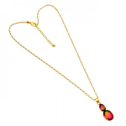 Tourmaline Doublet Quartz Gemstone 925 Silver Gold Plated Necklace Jewelry