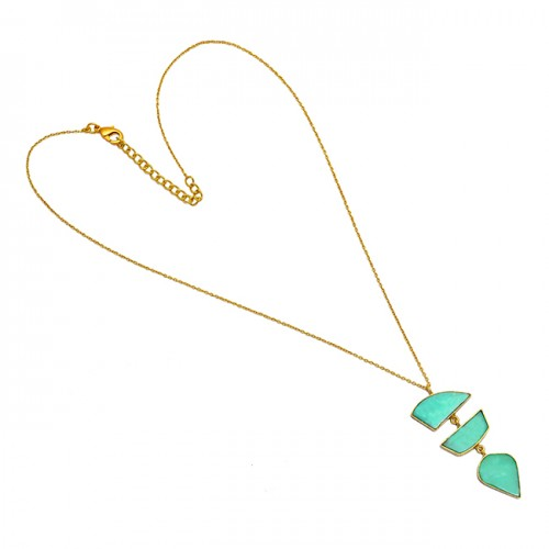 Fancy Shape Chrysoprase Gemstone 925 Sterling Silver Gold Plated Necklace Jewelry