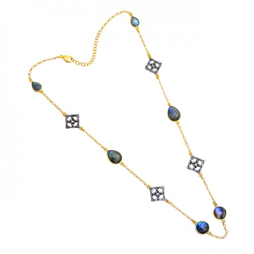 Pear Round Shape Labradorite Gemstone 925 Silver Gold Plated Necklace