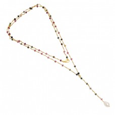 Multi Tourmaline Pearl Gemstone 925 Silver Gold Plated Beaded Necklace