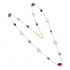 Amethyst Moonstone Labradorite 925 Sterling Silver Gold Plated Necklace