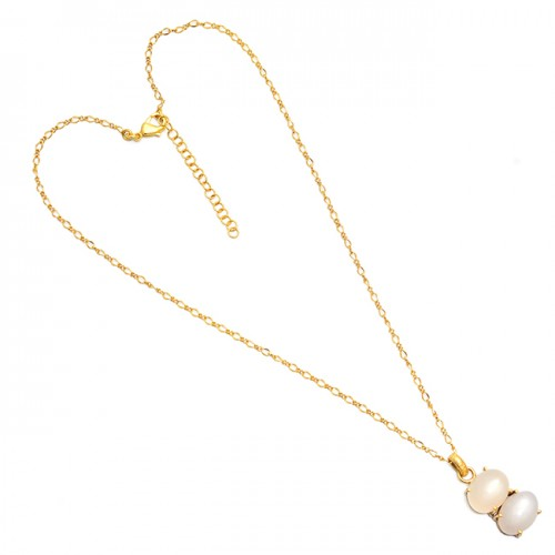 Oval Shape Moonstone 925 Sterling Silver Gold Plated Necklace Jewelry