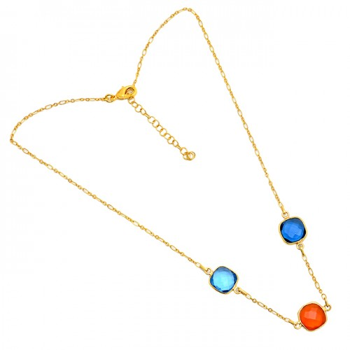 Square Shape Carnelian Tanzanite Quartz Gemstone Gold Plated Necklace