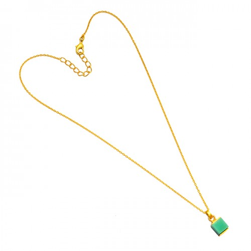 Handmade Green Chrysoprase Square Shape Gemstone 925 Sterling Silver Gold Plated Necklace Jewelry