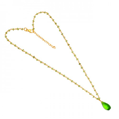 Peridot Quartz Gemstone 925 Sterling Silver Gold Plated Beaded Necklace