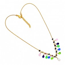 Pear Drops Shape Multi Color Gemstone 925 Silver Gold Plated Necklace