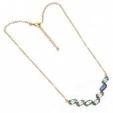 Blue Topaz Labradorite Gemstone 925 Sterling Silver Gold Plated Necklace