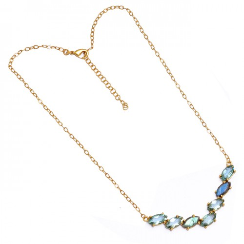 Blue Topaz Labradorite Gemstone 925 Sterling Silver Gold Plated Necklace