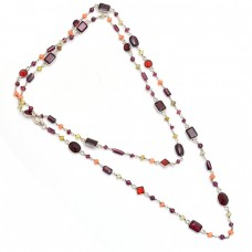925 Sterling Silver Multi Color Gemstone Gold Plated Necklace Jewelry