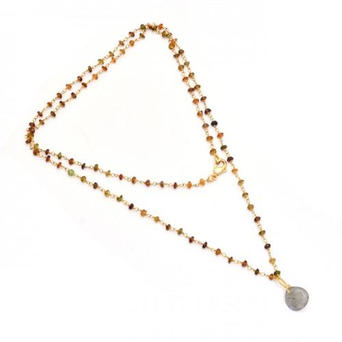 Labradorite Tourmaline Gemstone 925 Silver Gold Plated Necklace Jewelry