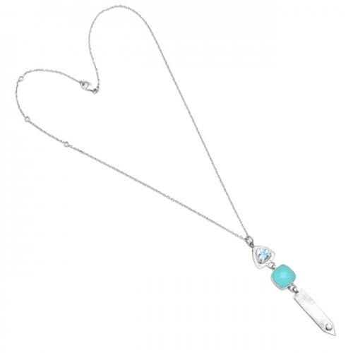 Topaz Chalcedony Cz Gemstone 925 Sterling Silver Handmade Necklace Jewelry