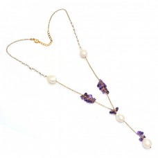 Amethyst Pearl Gemstone 925 Sterling Silver Gold Plated Necklace Jewelry