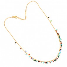Multi Color Gemstone 925 Sterling Silver Gold Plated Beaded Necklace Jewelry