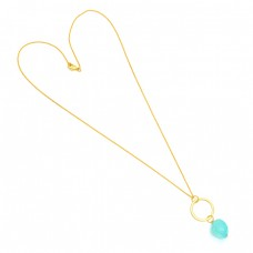 Fancy Shape Aqua Chalcedony Gemstone 925 Sterling Silver Gold Plated Necklace