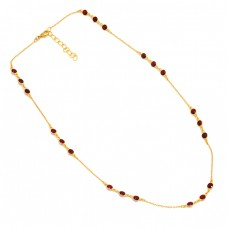 Round Shape Garnet Gemstone 925 Sterling Silver Gold Plated Necklace
