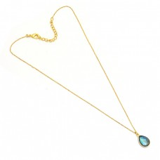 Pear Shape Labradorite Gemstone 925 Sterling Silver Gold Plated Necklace