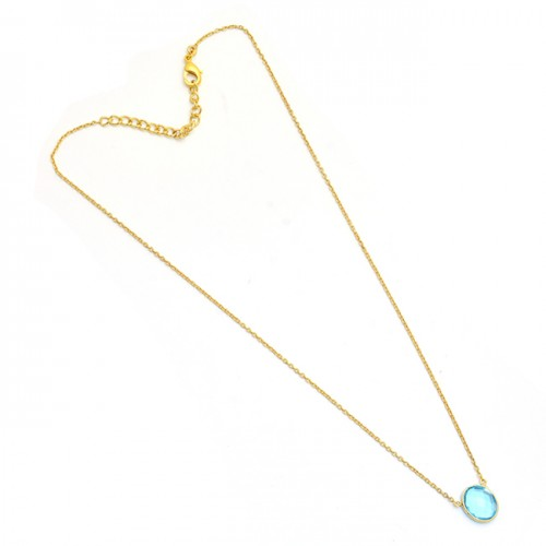 925 Sterling Silver Oval Shape Blue Topaz Gemstone Gold Plated Necklace