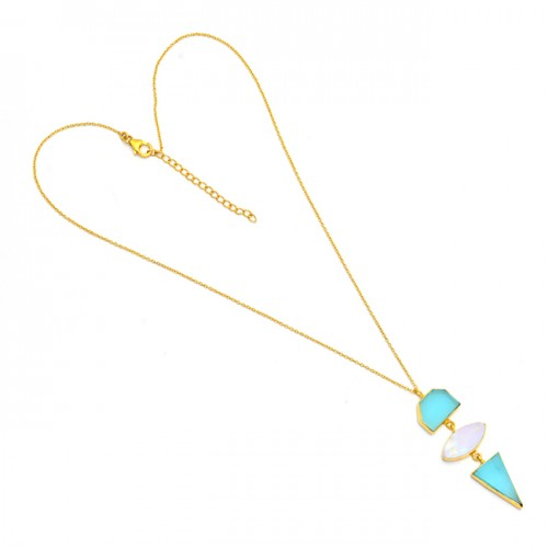 Aqua Chalcedony Moonstone 925 Sterling Silver Gold Plated Necklace Jewelry
