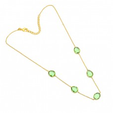 Oval Shape Peridot Gemstone 925 Sterling Silver Gold Plated Necklace Jewelry