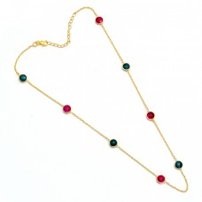 Ruby Emerald Gemstone 925 Sterling Silver Gold Plated Necklace Jewelry