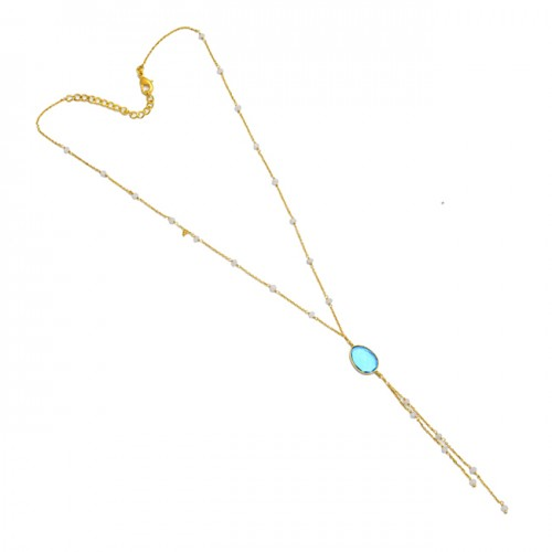 Rainbow Moonstone Blue Topaz 925 Sterling Silver Gold Plated Necklace