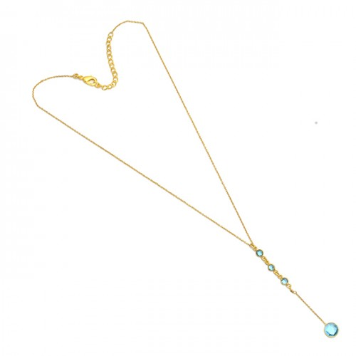 Round Shape Blue Topaz Gemstone 925 Sterling Silver Gold Plated Necklace