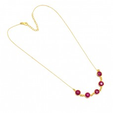 Round Shape Ruby Gemstone 925 Sterling Silver Gold Plated Necklace Jewelry