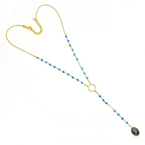 Labradorite Chalcedony Gemstone 925 Sterling Silver Gold Plated Necklace
