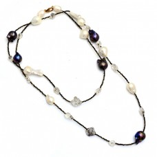 Pearl Herkimer Rough Gemstone 925 Sterling Silver Beaded Necklace Jewelry