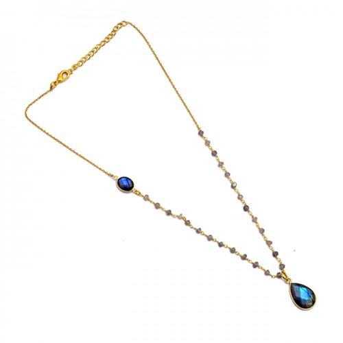 Labradorite Smoky Quartz Gemstone 925 Sterling Silver Gold Plated Necklace