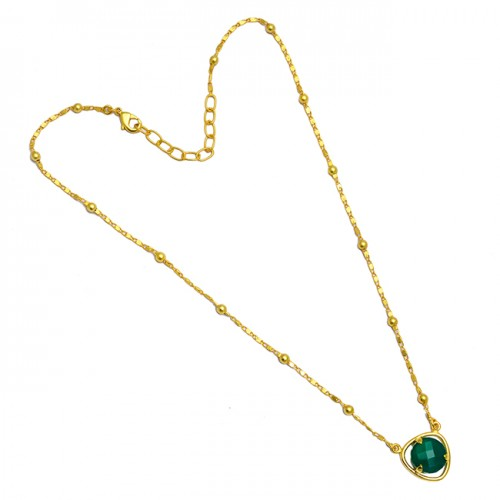 Green Onyx Round Briolette Gemstone 925 Sterling Silver Gold Plated Necklace Jewelry