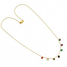 925 Sterling Silver Round Shape Multi Color Gemstone Gold Plated Necklace