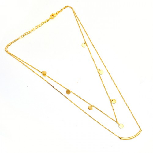 925 Sterling Silver Plain Handcrafted Designer Gold Plated Necklace Jewelry
