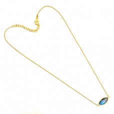 Marquoise Shape Labradorite Gemstone 925 Silver Gold Plated Necklace